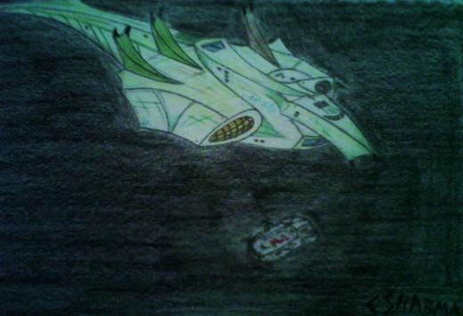 Art work of the unarmed Kalien ship