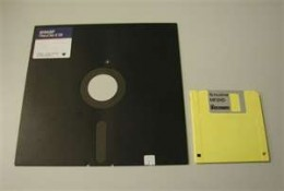 8 inch floppy disk and a 3 and 1/2 inch floppy disk