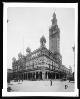 Title: 26th Street at Madison Avenue. Old Madison Square Garden circa 1905?. Date: 5/31/1945