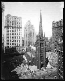 Title: Wall Street. Trinity Church, general view from Stock Exchange Annex. Date: 8/20/1929