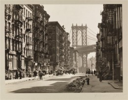 Title: Pike and Henry Streets Date: March 6, 1936 Comments: Pike Street between Henry and Madison Streets, showing tenements with the Manhattan Bridge in the background.