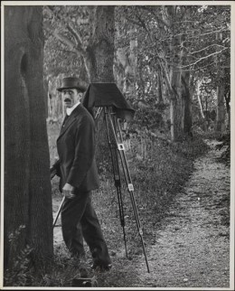 Title: [Photographer with tripod set up in wooded area] Date: 1900 Comments: Photograph of Robert L. Bracklow