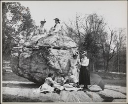 Title: Bronx Park, on Rocking Stone Date: 1895 Comments:  seven young women on Rocking Stone in Bronx Park.