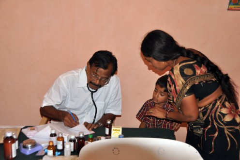 A pediatric counselling and treatment session in progress at Chowthaguntapalli