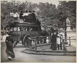 Title: Fifth Avenue Coach at Madison Square Park Date: 1900 Comments: View of Madison Square showing construction and the 5th Ave. omnibus loaded with passengers.