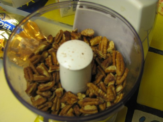 1 Cup Ground Nuts: To Prepare Pecans for homemade toffee: put in food processor and porcess for 20 seconds at a time.