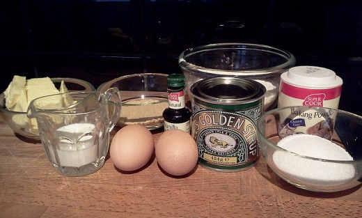 Ingredients for treacle steamed pudding