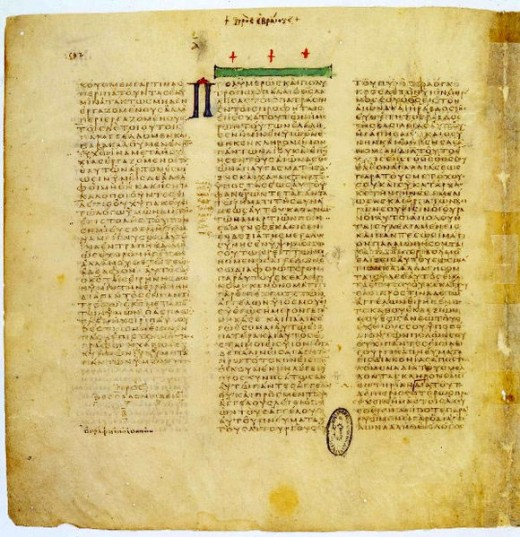 One of two remaining first bibles created in the fourth century CE by the Arian bishop Eusebius of Cesaraea on order of Emperor Constantine I