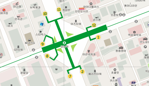 Be careful with directions you find online, because Seoul changed around the exit numbers in Gangnam Station in 2011. This is the accurate map as of the time of writing, but directions written in or before 2011 may give incorrect exit numbers.