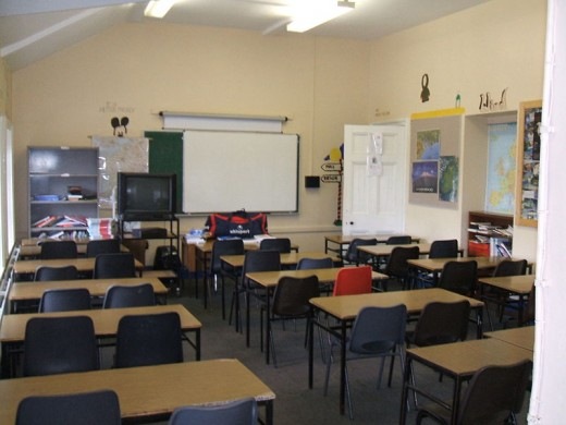 Classroom with an interactive whiteboard in St. Eunan's College, Letterkenny, Ireland