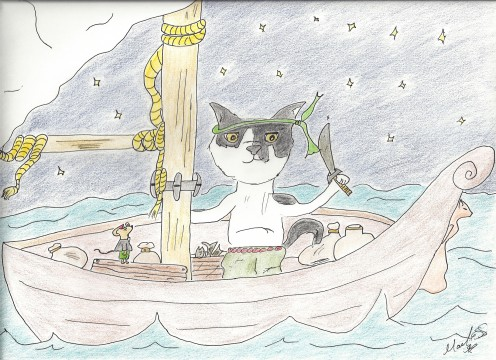 Munchkin on his boat.  Artwork by Marilyn Santis Rojas