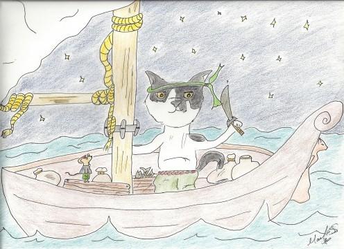 Munchkin on his boat.  Artwork by Marilyn Santis Rojas