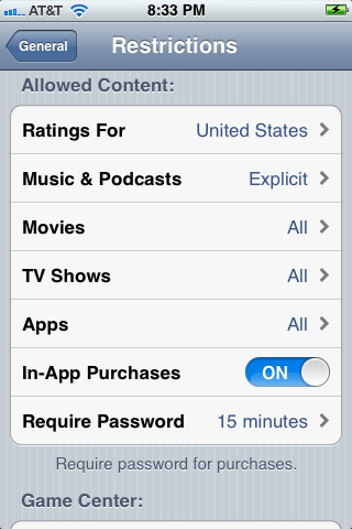 You can adjust what movie, TV and music ratings in the Allowed Content sections.