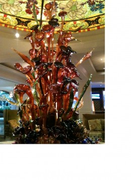 An iPhone photo just doesn't capture the stunning effect of this floral sculpture.
