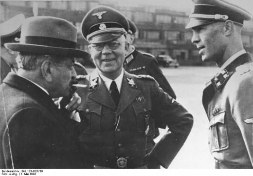 Pierre Laval with German Commanders in Paris