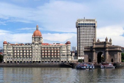Mumbai's Famous Landmarks-The Taj Mahal Hotel and Tower across from the Gateway Of India at the picturesque Arabian Sea