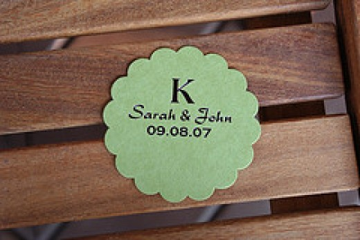 Go retro-chic with personalized wedding coasters.