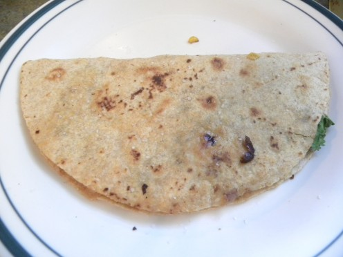 Black Bean and Roasted Corn Quesadilla ready to eat!
