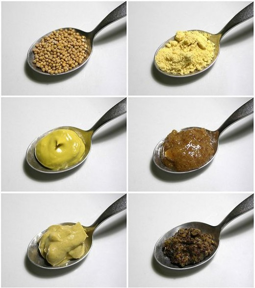 Six pictures of mustard seeds, whole, ground and mixed with other ingredients.