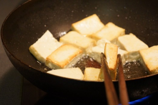 searing tofu lightly, both face. You might want to skip this step or in the opposite, you want to deep fry it