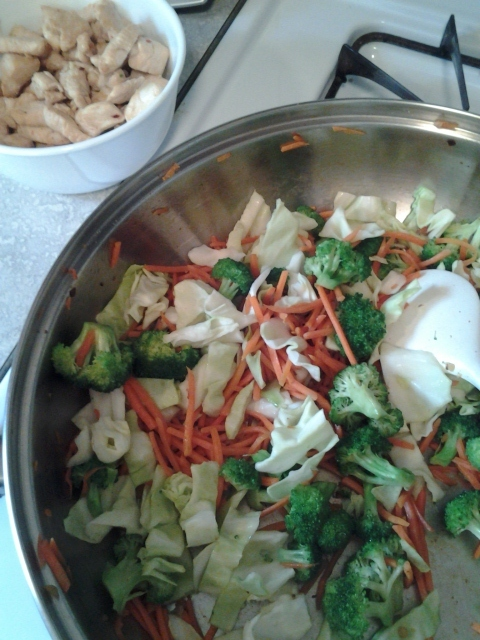 broccoli, carrots and cabbage