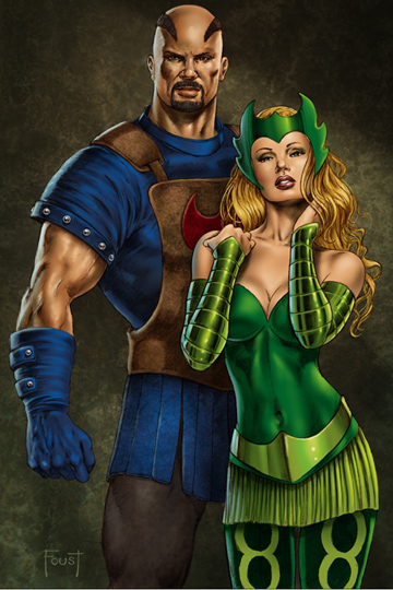 Skurge The Executioner and Amora The Enchantress. Art by Mitch Foust.