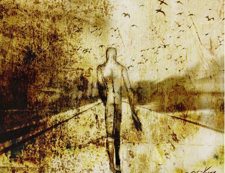 a lone man, mourning, sad, distressed