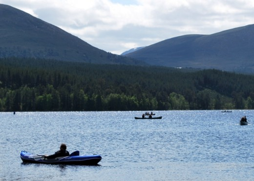 Canoeing and kayaking on Loch Morlich is a great experience on a warm, sunny day.  The scenery is spectacular.