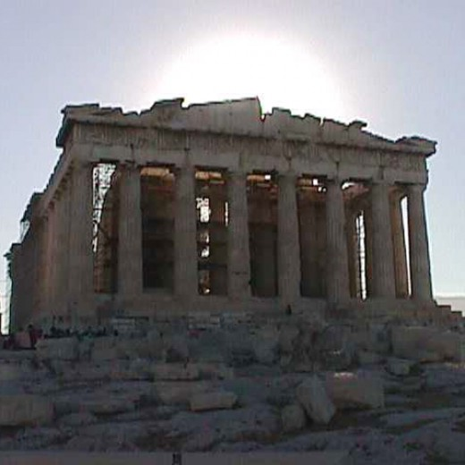Parthenon at sunset.