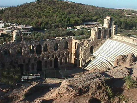 The Theater (Odeion) of Herodes Atticus was built in 161 AD and restored in 1955. The site is used today for outdoor concerts.