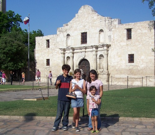 The kids and me at The Alamo