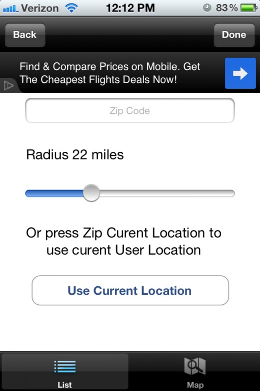 Change your search radius in one mile increments.