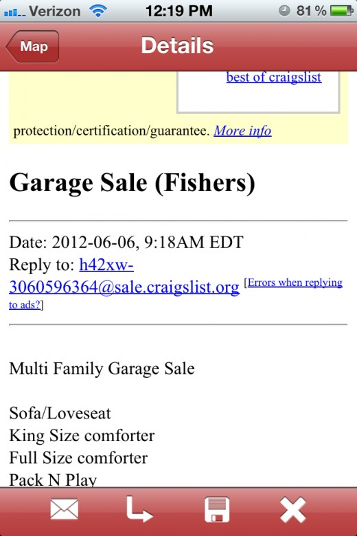 From the Details page, view the source ad, email the sale, and access directions.