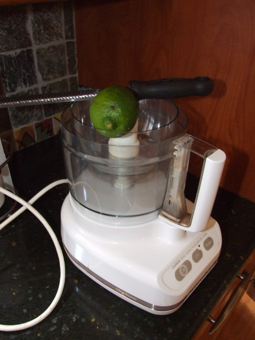 Zesting the lime right into the processor.