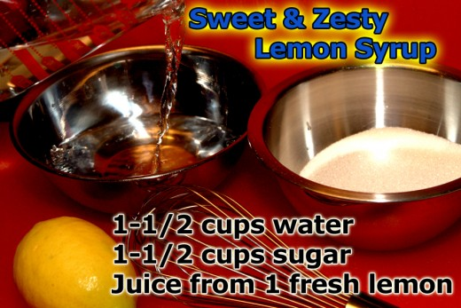 The lemon kissed syrup is really simple to make. Just mix together sugar, water , and lemon juice over heat!