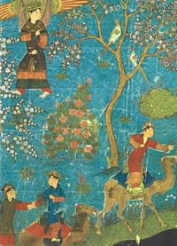 15th-century Persian depiction of the Islamic Paradise. (Bibliotheque Nationale, Paris)