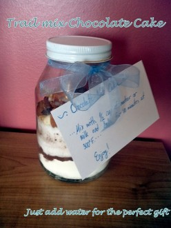 Trail Mix Chocolate Cake in a Jar