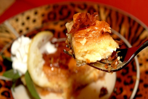 A wonderfully light and crispy Custard-filled Phyllo Pastry dessert.