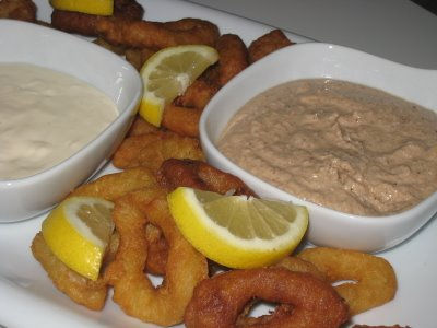 Turkish Dry Tarator (right) served with fried squid