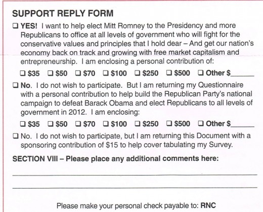 The actual donation block from the back of the RNC 2012 presidential platform survey.