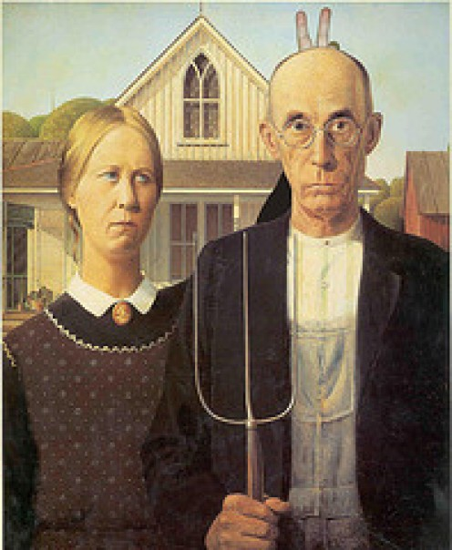 "Notice the ""rabbit ears,"" behind the old man in this American classic painting, American Gothic."