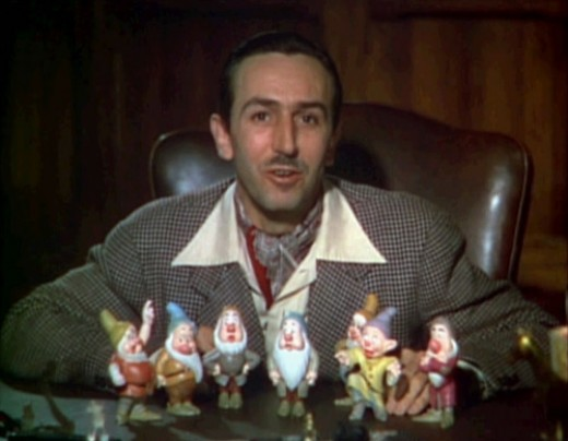 Walt Disney introduces each of the Seven Dwarfs in a scene from the original 1937 Snow White and the Seven Dwarfs theatrical trailer