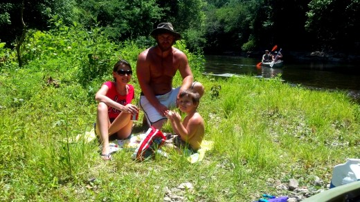 Stopping for a picnic on the river.