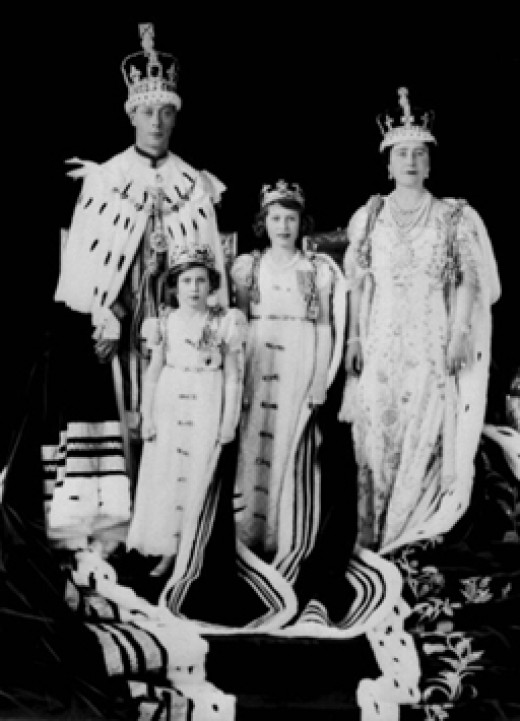 The Coronation of King George VI and Queen Elizabeth, with Princess Elizabeth and Princess Margaret Rose