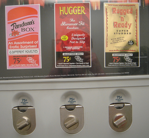 Condom machine. (I don't practice Safe sex. I've mastered it.)
