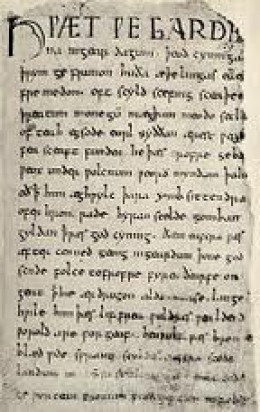 The first page of the 'Beowulf' manuscript (British Museum). The author 'tweaked' the story to suit his clerical masters, but the kennings and alliteration are fairly true to its eastern Scandinavian verbal origins