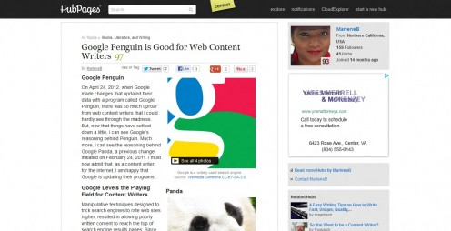 Google Penguin is Good for Web Content Writers