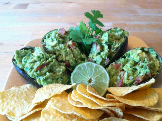 Serve inside avocado shells and serve with chips