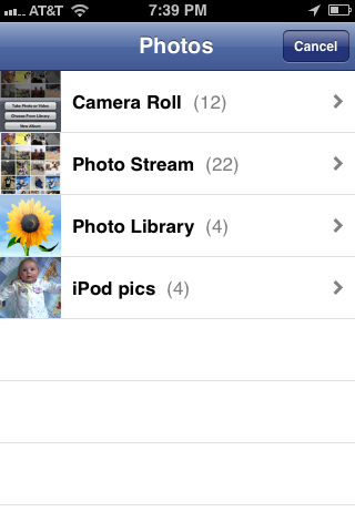 Tap the name of the photo album where the picture you want to load to your Facebook account is located.