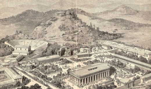 One artists representation of what Ancient Olympia May have looked like.